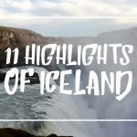 "White font on a picture of the Gullfoss reading ""11 Highlights of Iceland"""
